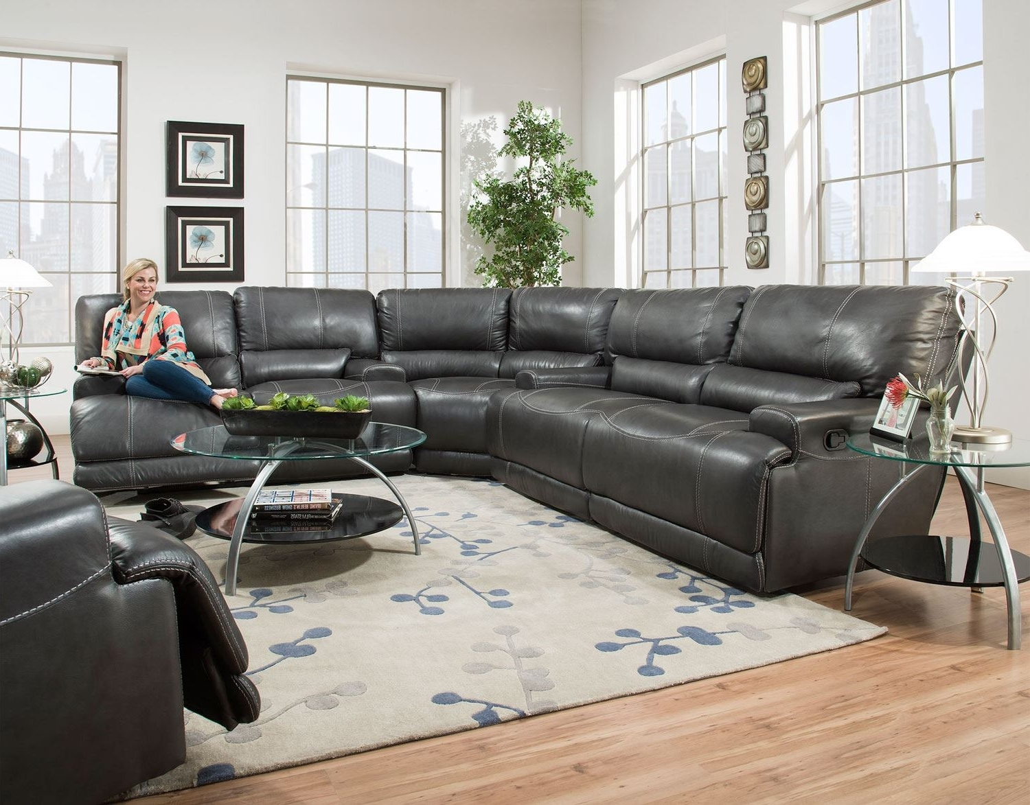 Couches With Large Ottoman In Preferred Reclining Sectional Leather Sectional Grey Sectional Sectionals (View 19 of 20)