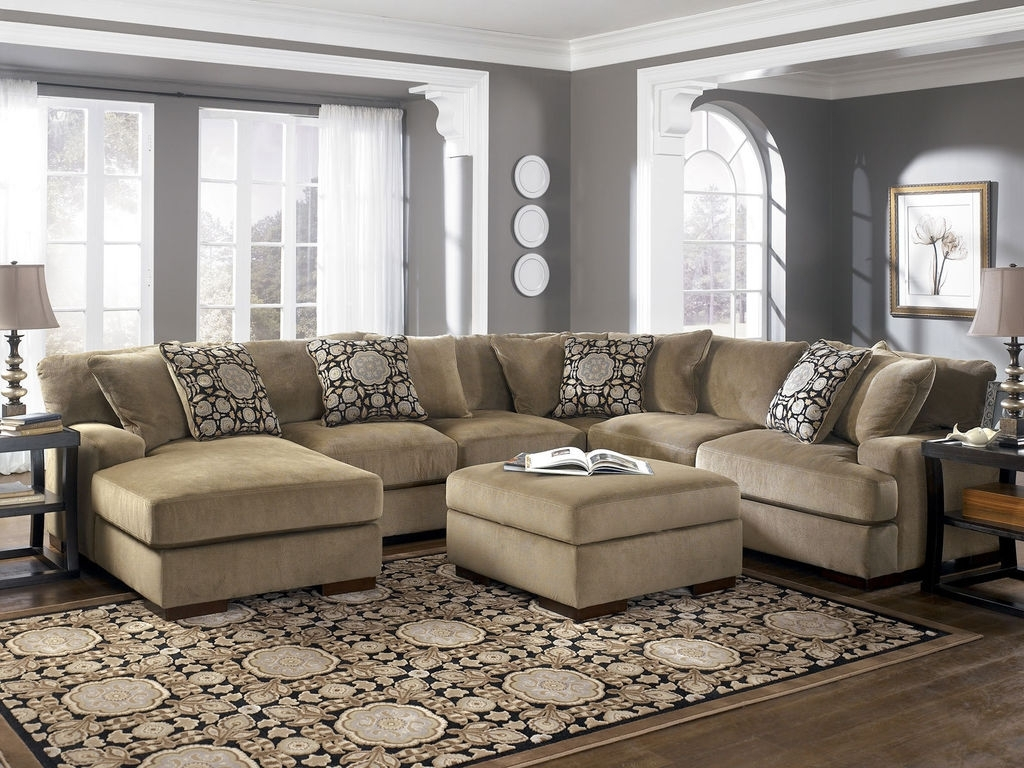 Couches With Large Ottoman Inside Favorite Sofa : Deep Seated Sectional New Sectional Sofa With Ottoman Deep (View 13 of 20)