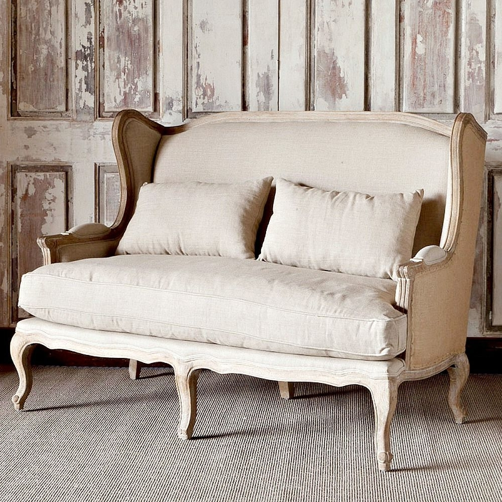 Country Sofas And Chairs With Current Park Hill Collection Country Linen & Burlap Wingback Settee (View 8 of 20)