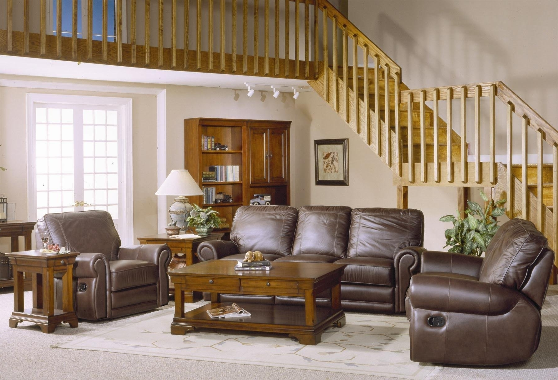 Country Style Brown Leather Sofa Set With Sofa Loveseat And Chair Throughout Newest Country Style Sofas (View 2 of 20)