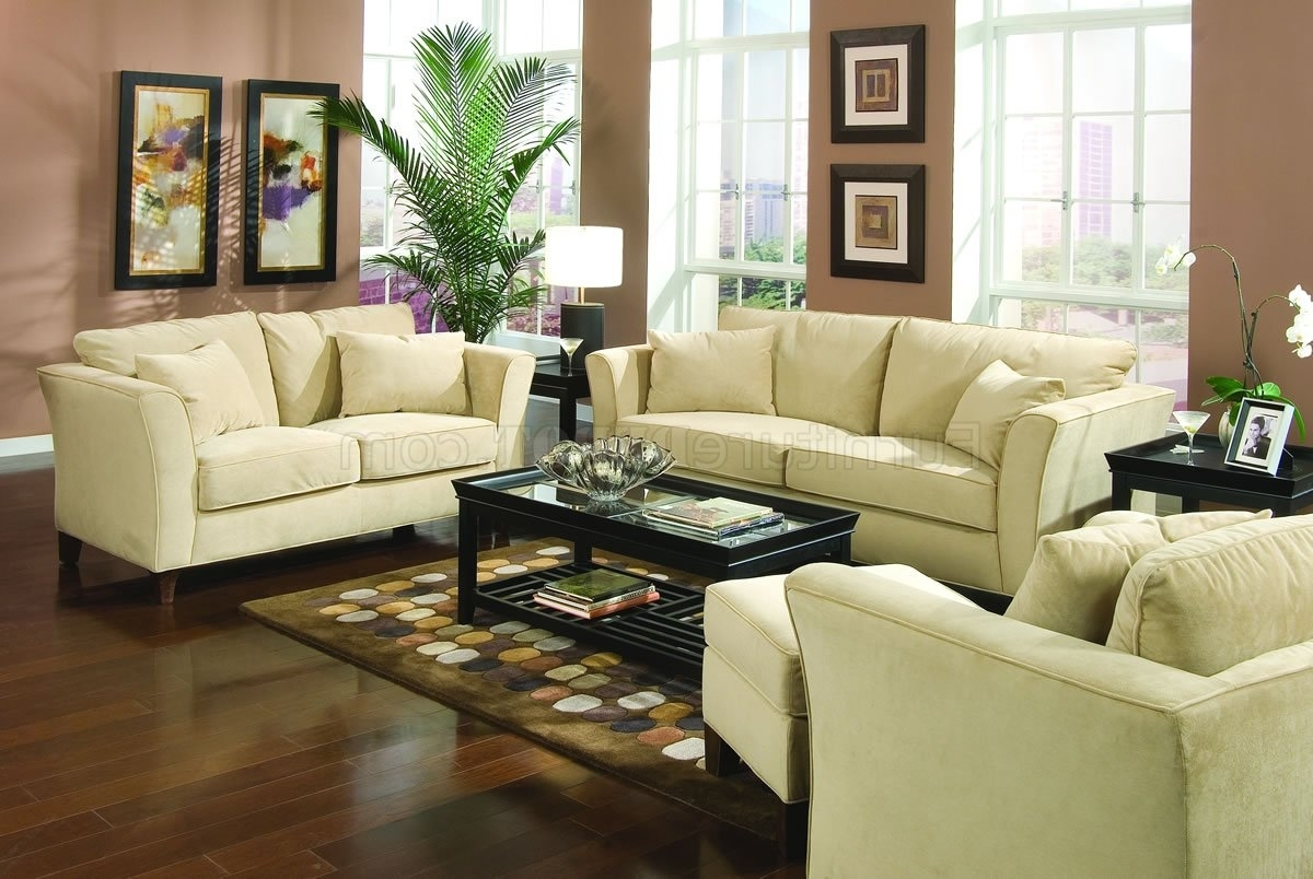 Cream Colored Sofas Intended For Popular Park Place Sofa In Cream Velvet Fabric 500231Coaster W/optio (View 9 of 20)