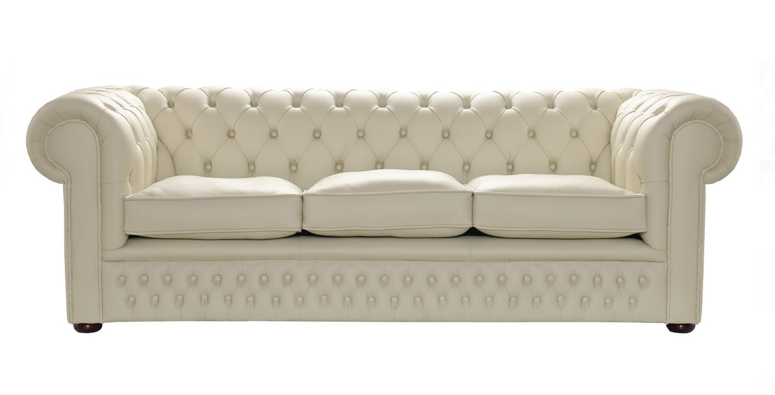 Cream Leather Chesterfield Sofa, Handcrafted In The Uk Pertaining To Famous Tufted Leather Chesterfield Sofas (View 2 of 20)