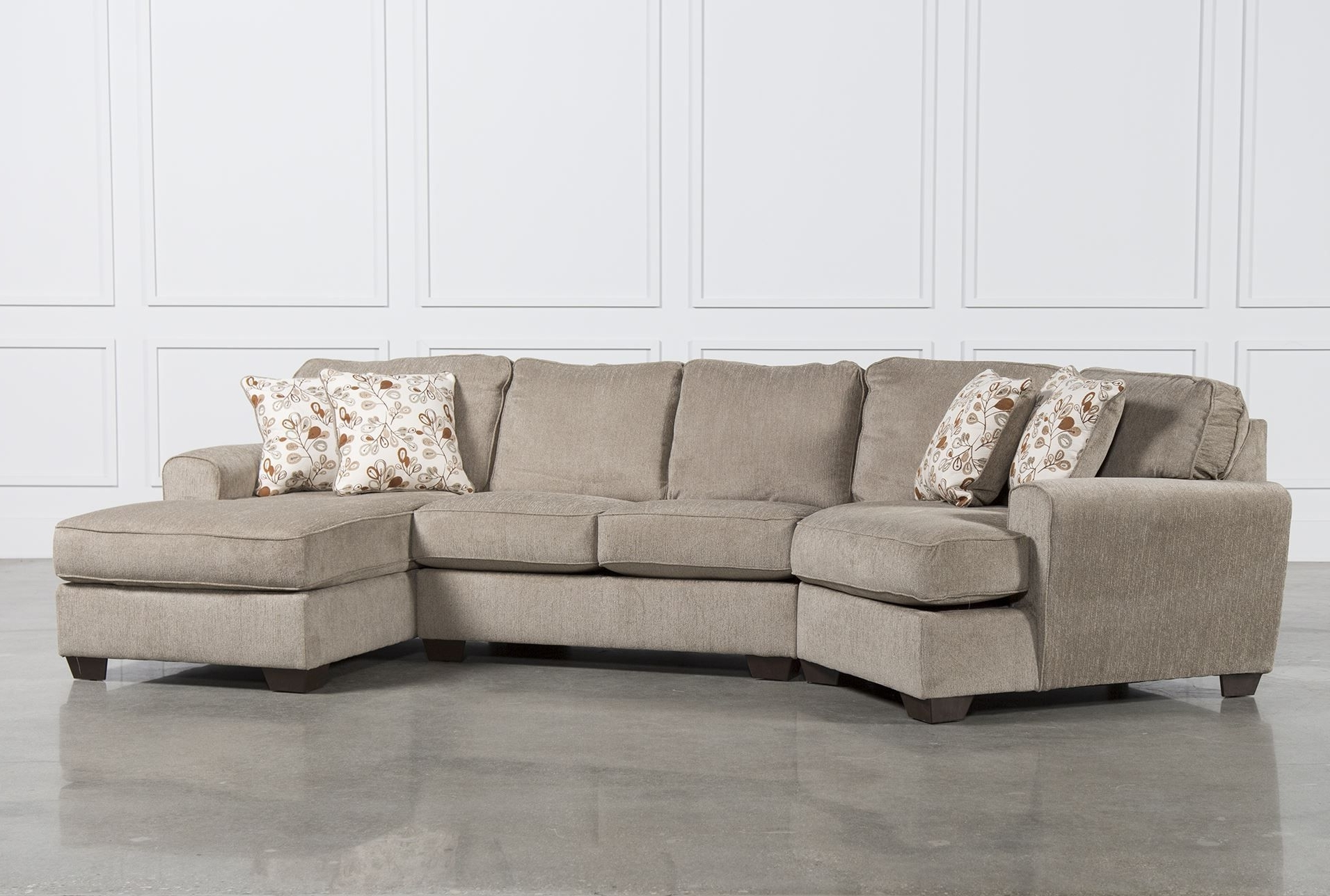 Cuddler Sectional Sofas Pertaining To Fashionable Patola Park 3 Piece Cuddler Sectional W/raf Corner Chaise (View 8 of 20)