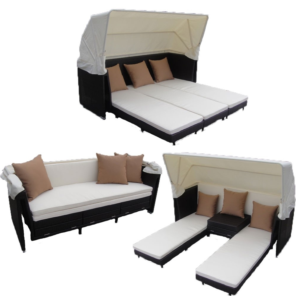 Curaçao Canopy Set In Black Wicker, Ivory Fabric Intended For Most Current Outdoor Sofas With Canopy (View 2 of 20)