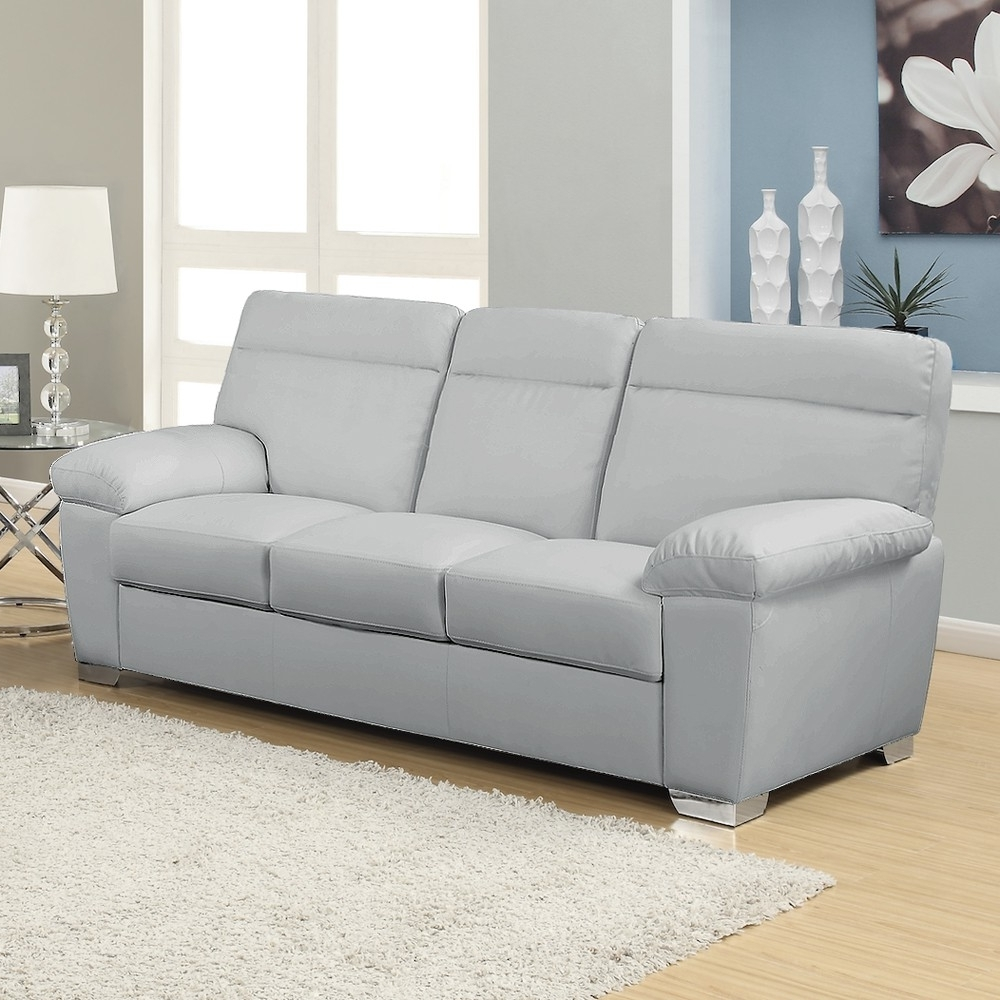 Current 3 Seater Leather Sofas Regarding Alto Italian Inspired High Back Leather Light Grey Sofa Collection (View 7 of 20)