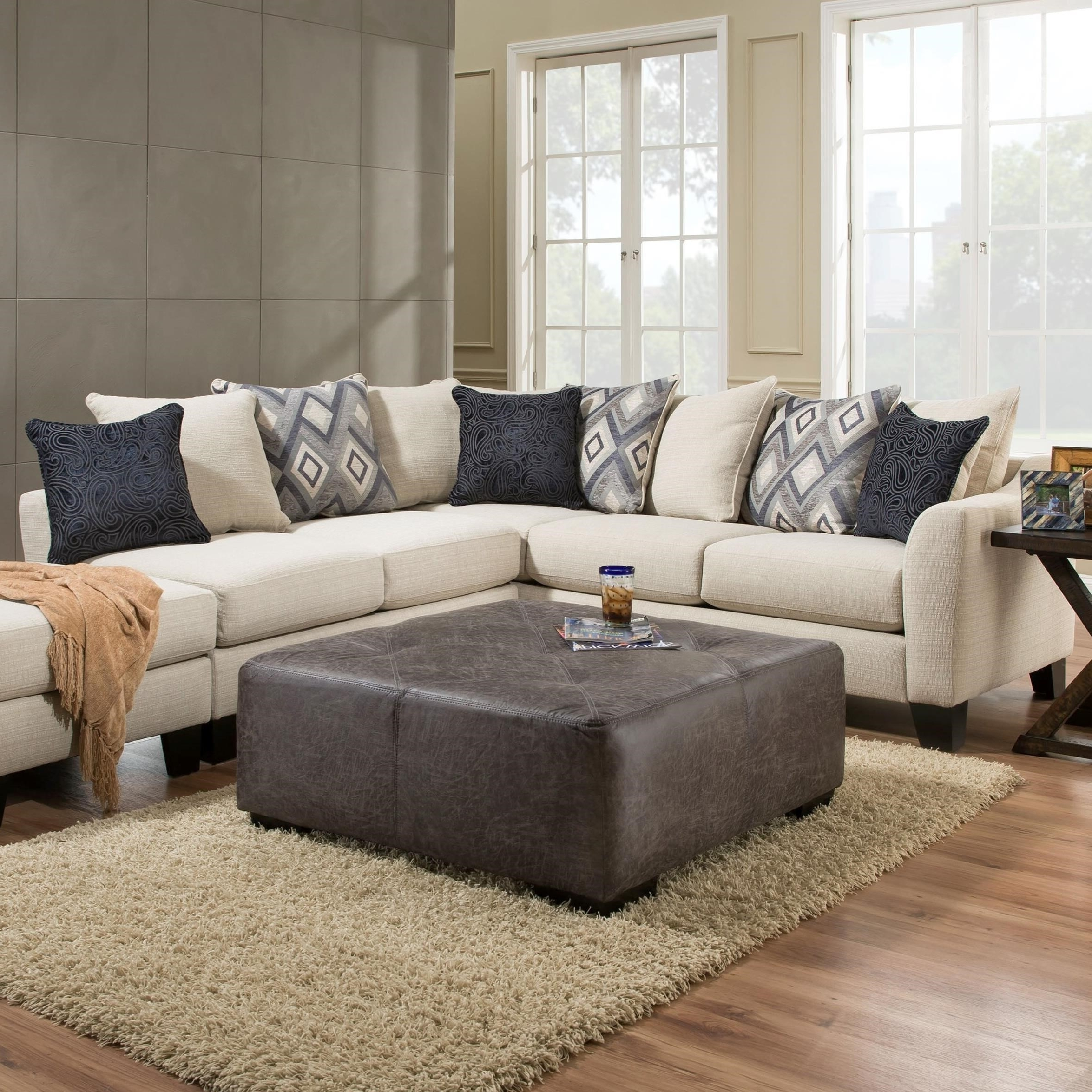 Current Albany R759 2 Piece Sectional Sofa In Dynasty Cream Fabric Throughout Hattiesburg Ms Sectional Sofas (View 8 of 20)
