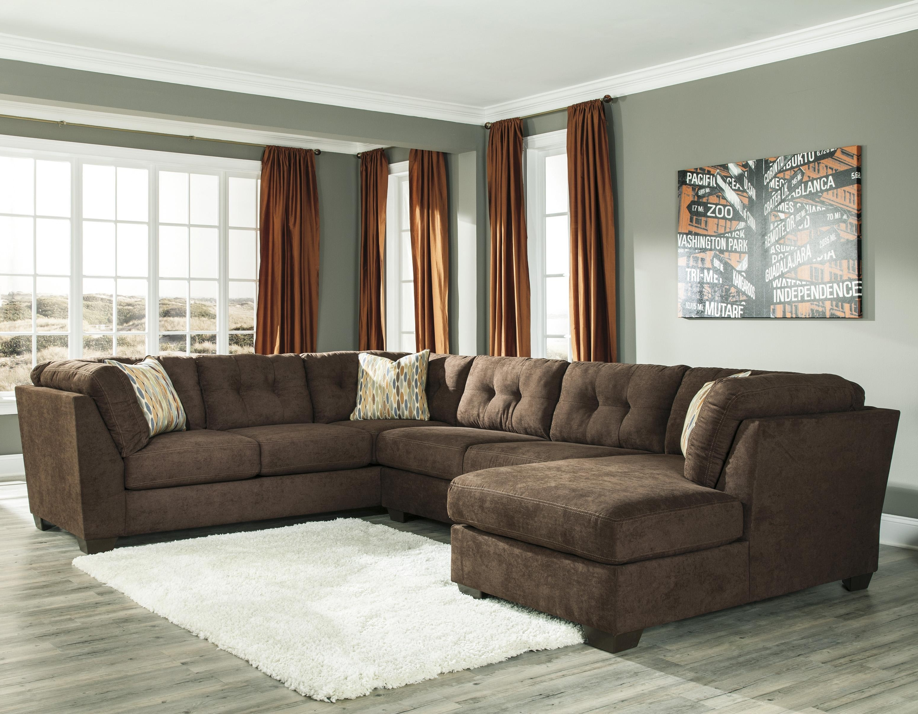 Current Ashley/benchcraft Delta City – Chocolate 3 Piece Modular Sectional With Regard To 3 Piece Sectional Sleeper Sofas (View 11 of 20)