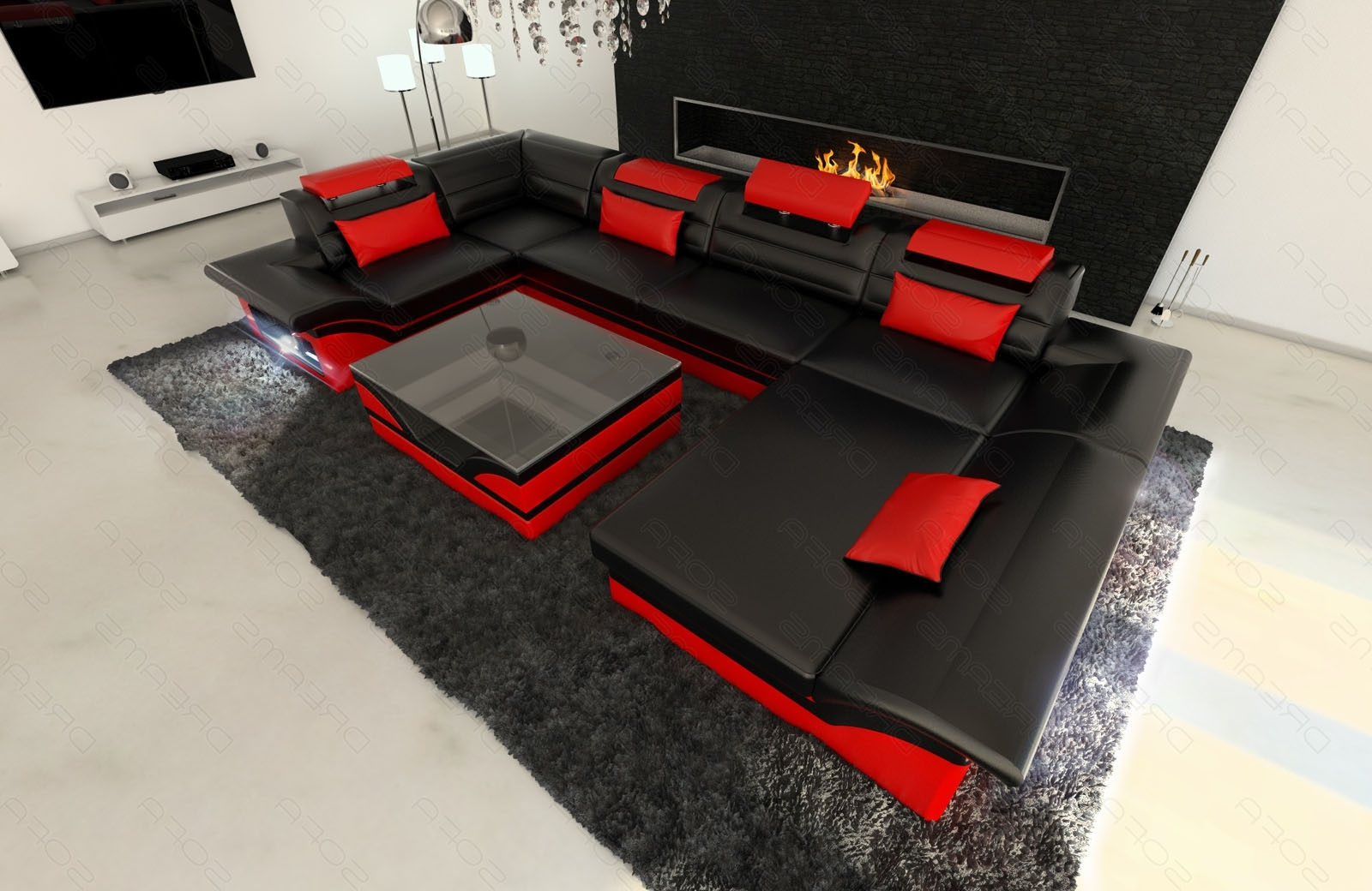 Current Big Leather Sectional Sofa Atlanta With Led Lights U Shape Couch With Red And Black Sofas (View 16 of 20)