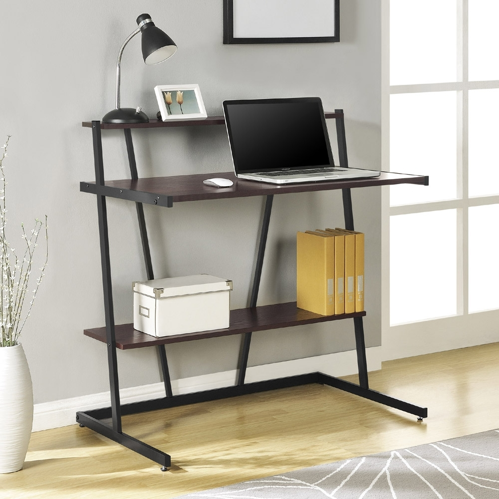 Current Cherry And Black Small Computer Desk With Shelf 9391096 Within Computer Desks With Shelves (View 10 of 20)