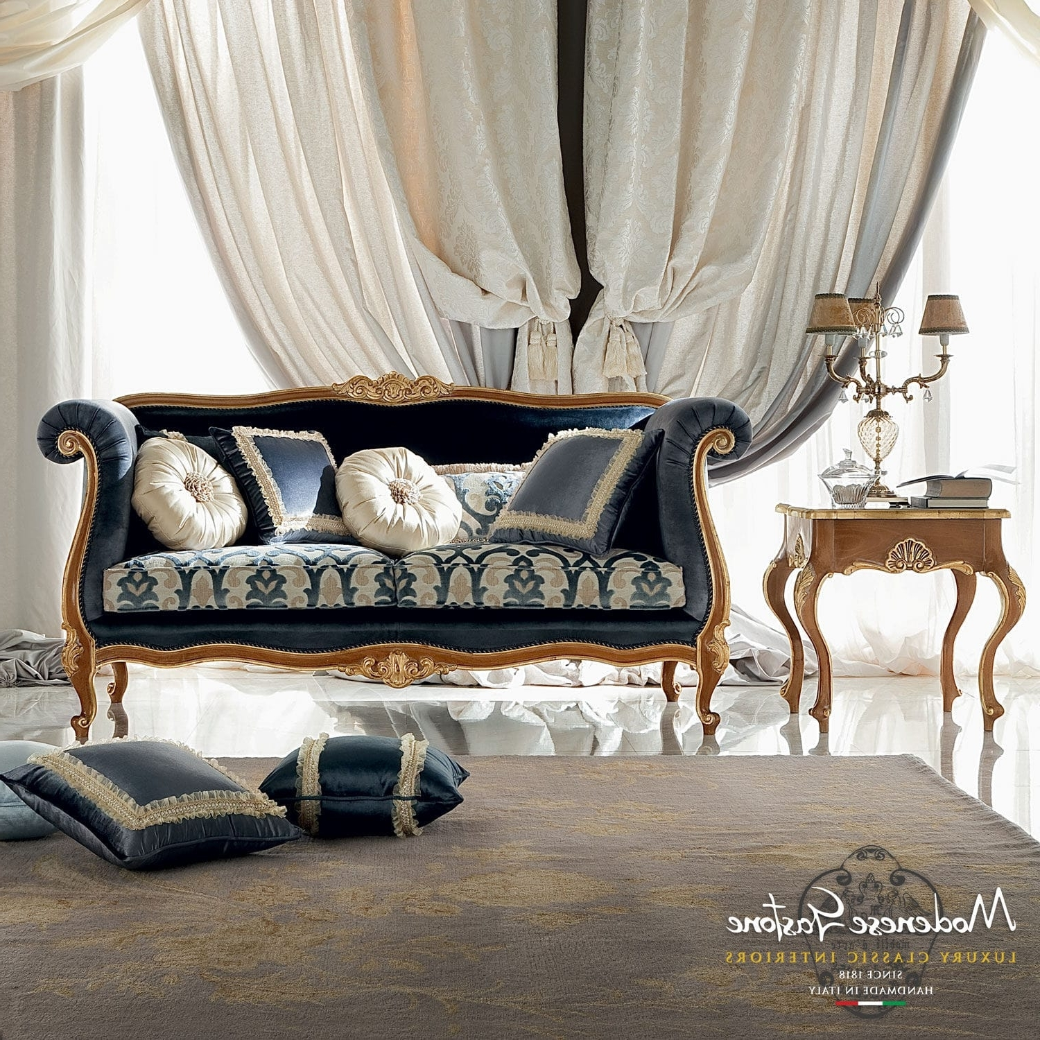 Current Classic Sofa Fabric 2 Seater Blue Bella Vita Modenese Luxury Sofas With Classic Sofas (View 8 of 20)