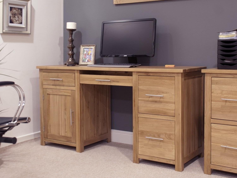 Current Computer Desks In Oak Regarding Eton Solid Oak Furniture Large Office Computer Desk (View 7 of 20)