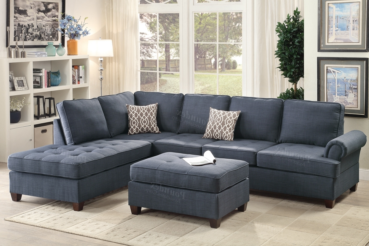 Current Fabric Sectional Sofas Pertaining To Blue Fabric Sectional Sofa – Steal A Sofa Furniture Outlet Los (View 12 of 20)