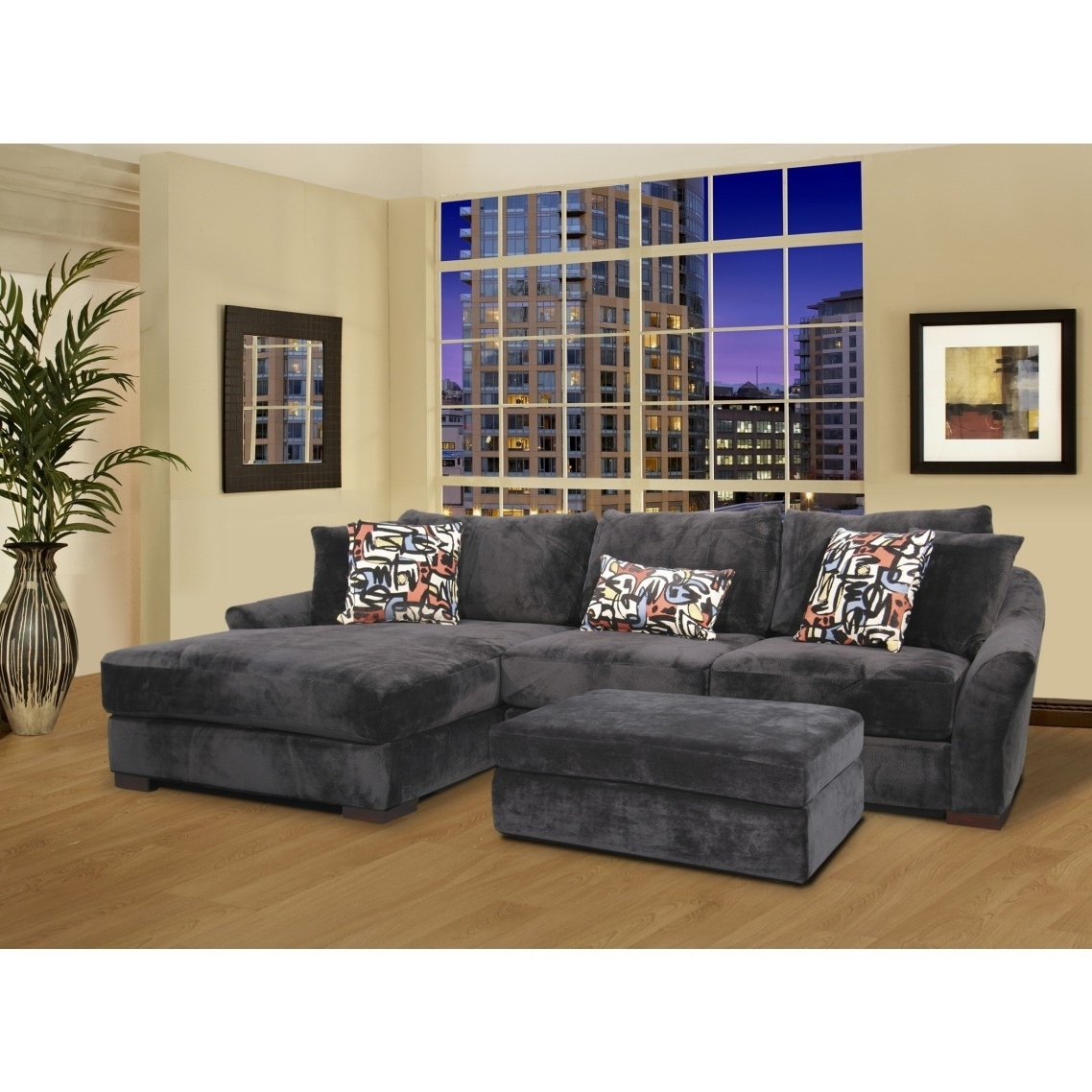 Current Gray Velvet Oversized Sectional Sleeper Sofa With Left Chaise Pertaining To Sectional Sleeper Sofas With Ottoman (View 7 of 20)