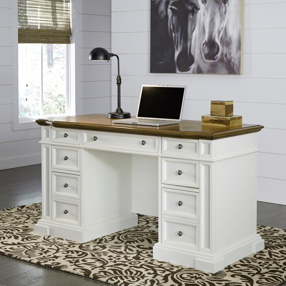 Current Home Styles Americana White Desk With Storage 5002 18 – The Home Depot Throughout Computer Desks At Home Depot (View 8 of 20)
