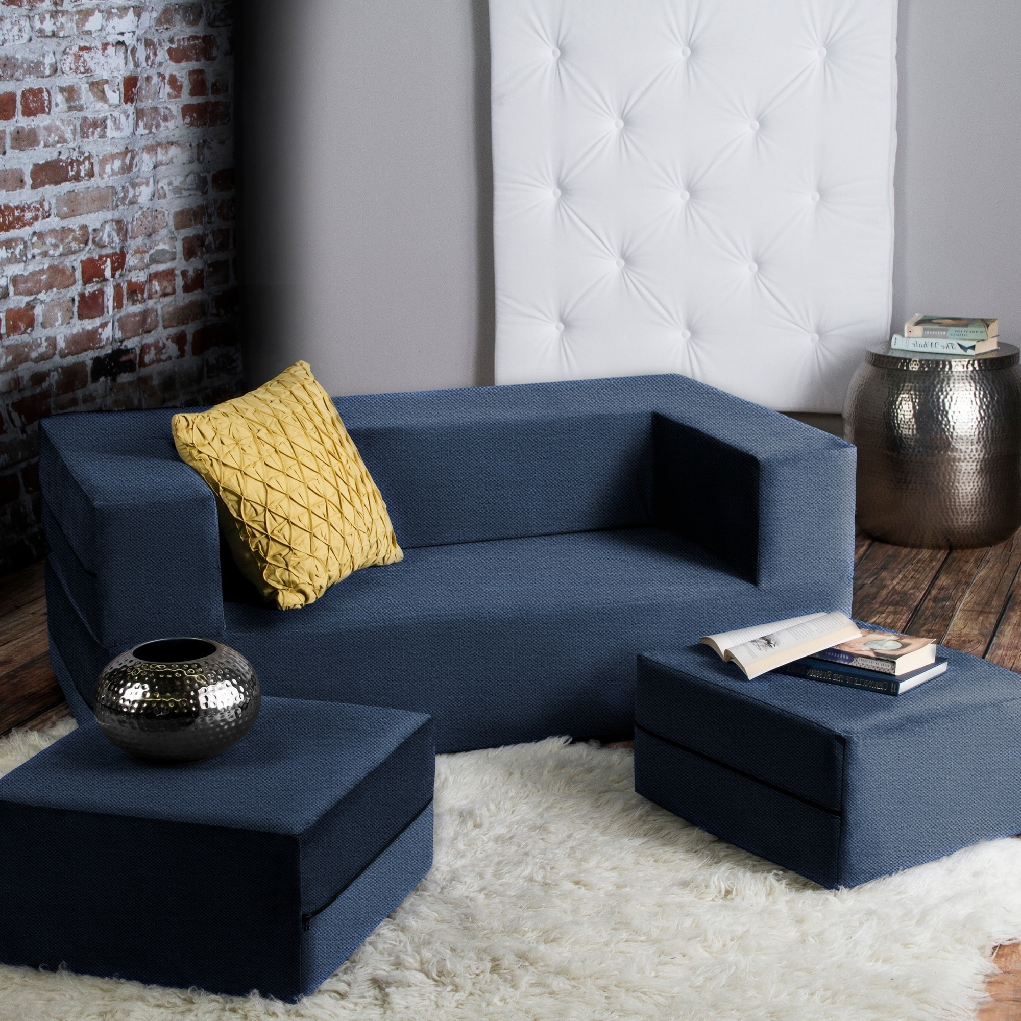 Current Jaxx Zipline Convertible Sleeper Loveseat And Ottomans/ Queen Size With Regard To Loveseats With Ottoman (View 13 of 20)