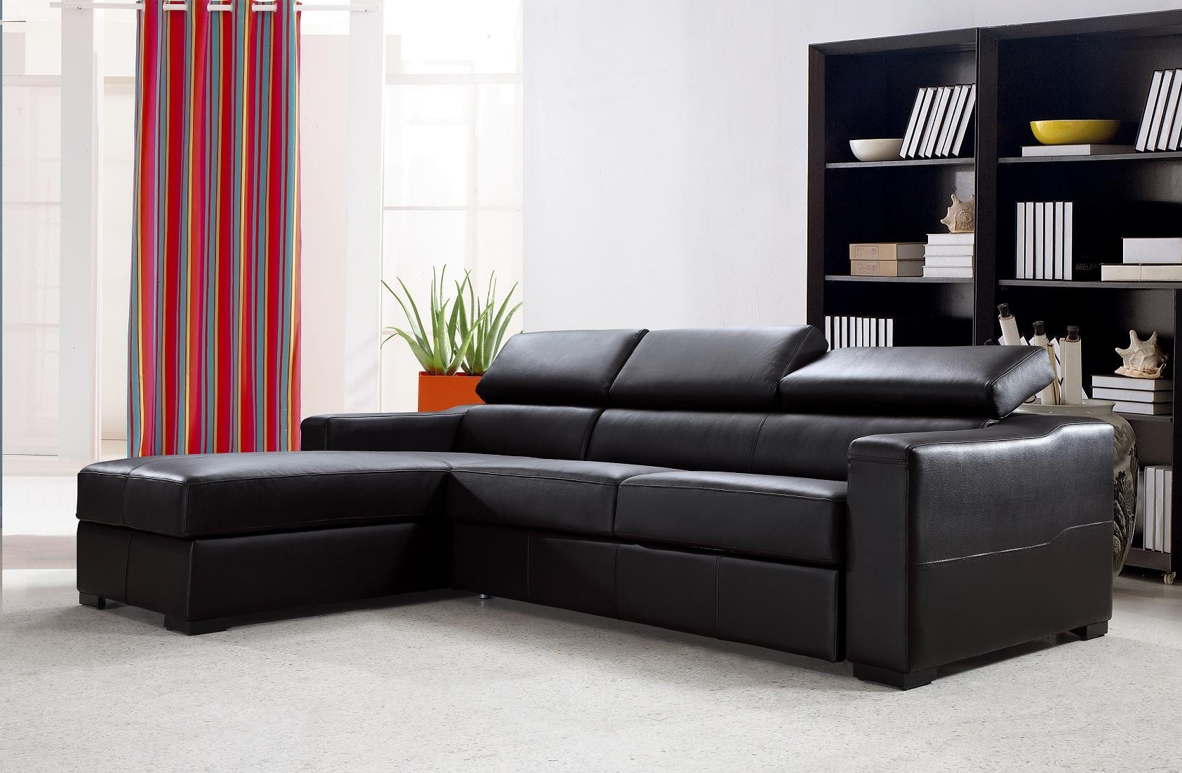 Current Leather Sofas With Storage Pertaining To Flip Reversible Espresso Leather Sectional Sofa Bed W/ Storage (View 5 of 20)