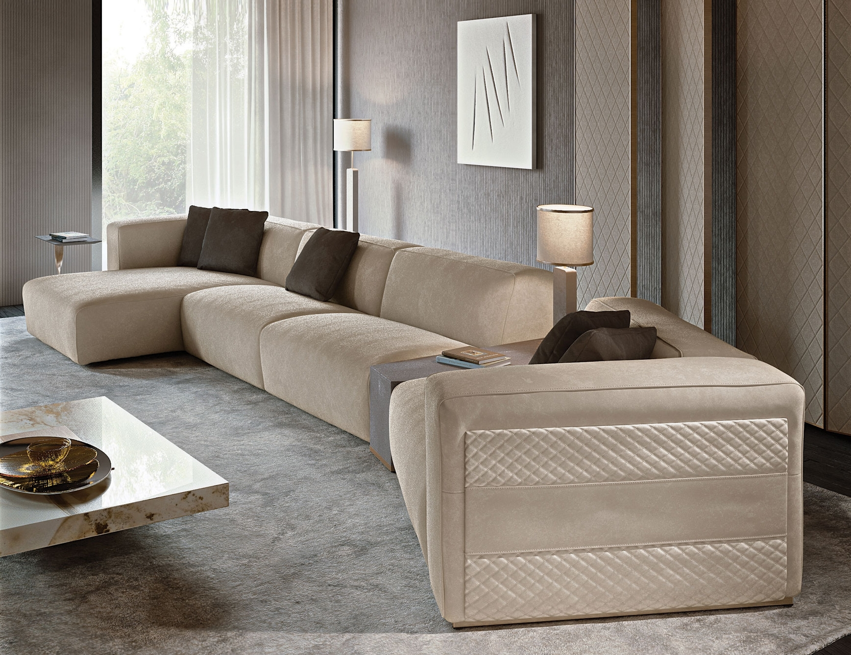 Current Nella Vetrina Rugiano Freud Sectional Sofa In Suede In High End Sectional Sofas (View 2 of 20)