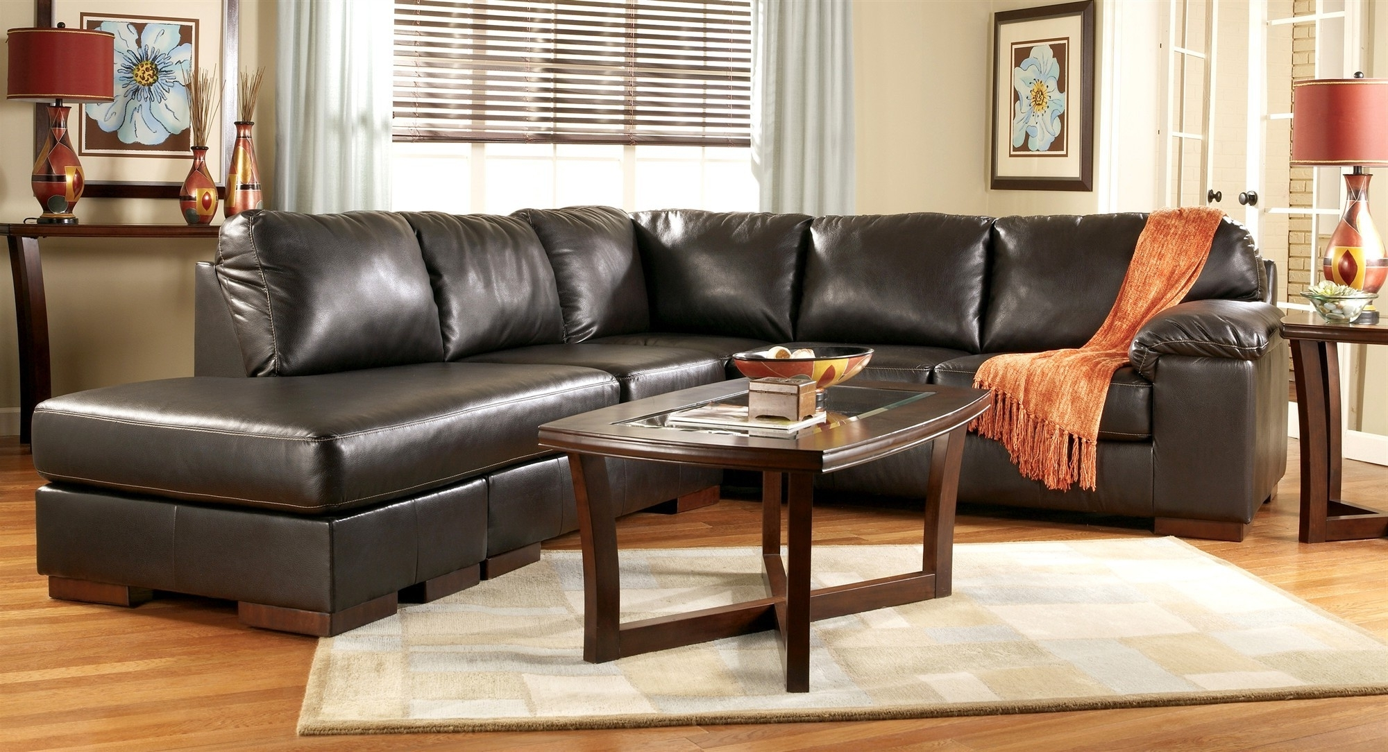 Red Faux Leather Sectionals
