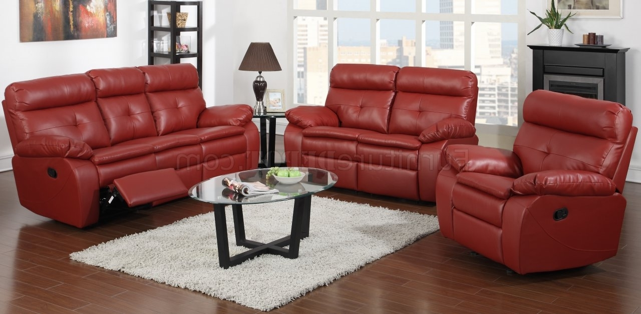 Current Red Leather Reclining Sofas And Loveseats With Regard To Reclining Sofa & Loveseat In Red Bonded Leatherglory (View 11 of 20)
