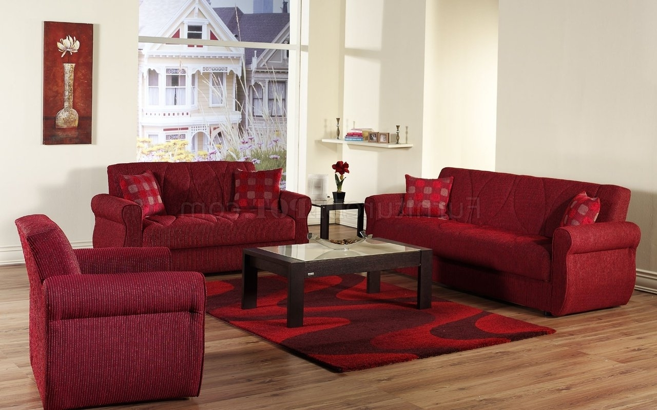 Current Red Sleeper Sofas Throughout Red Fabric Contemporary Living Room Sleeper Sofa W/storage (View 5 of 20)