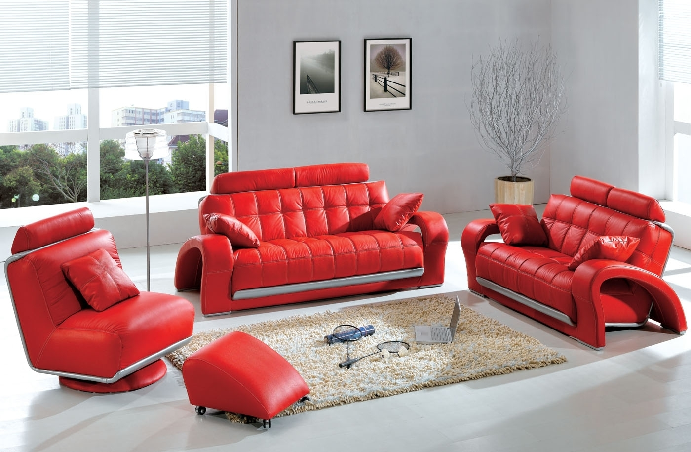 Current Red Sofa Chairs With Modern & Contemporary Leather Sofa & Sectional Sets (View 2 of 20)