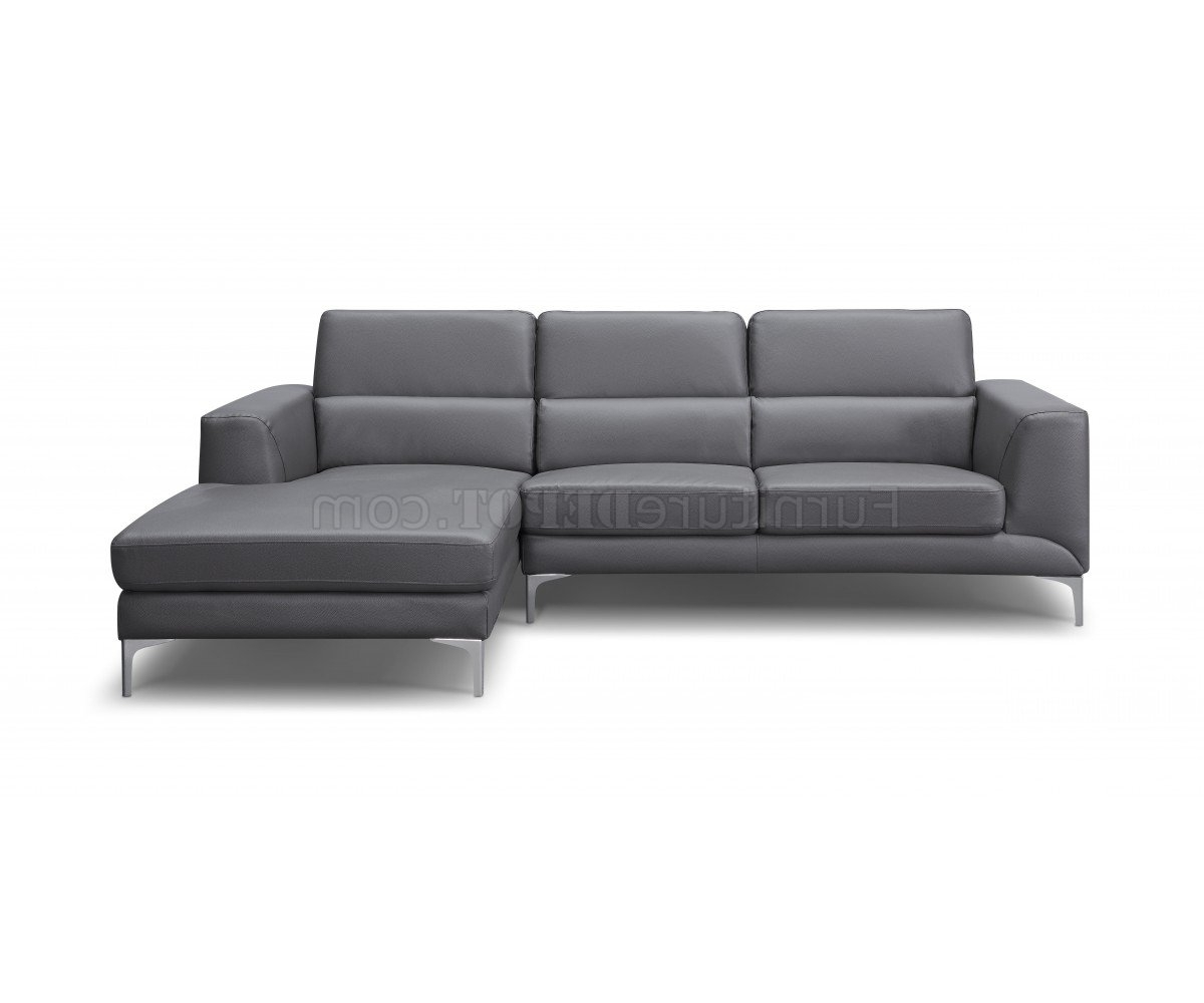 Current Sydney Sectional Sofas With Regard To Sectional Sofa In Gray Faux Leatherwhiteline (View 7 of 20)