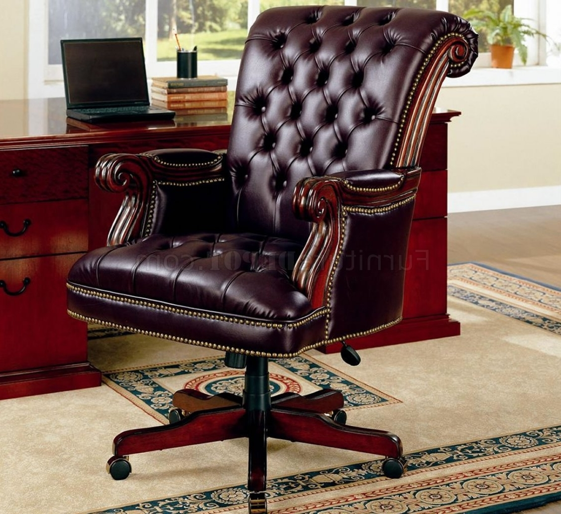 Current Traditional Executive Office Chairs Throughout Traditional Burgundy Vinyl Executive Chair W/nailhead Trim (View 2 of 20)