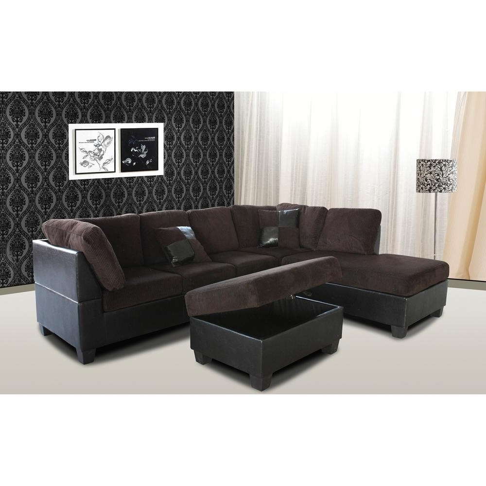 Current Venetian Worldwide Taylor 2 Piece Chocolate Brown Corduroy Pertaining To Chocolate Sectional Sofas (View 8 of 20)