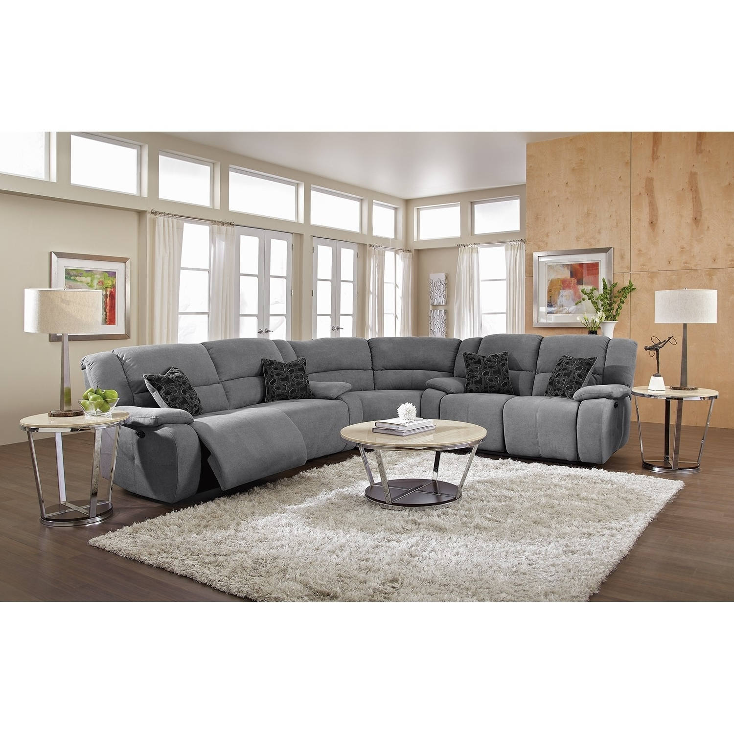 Curved Sectional Recliner Sofas Tourdecarroll Regarding Preferred Gallery 20 Of