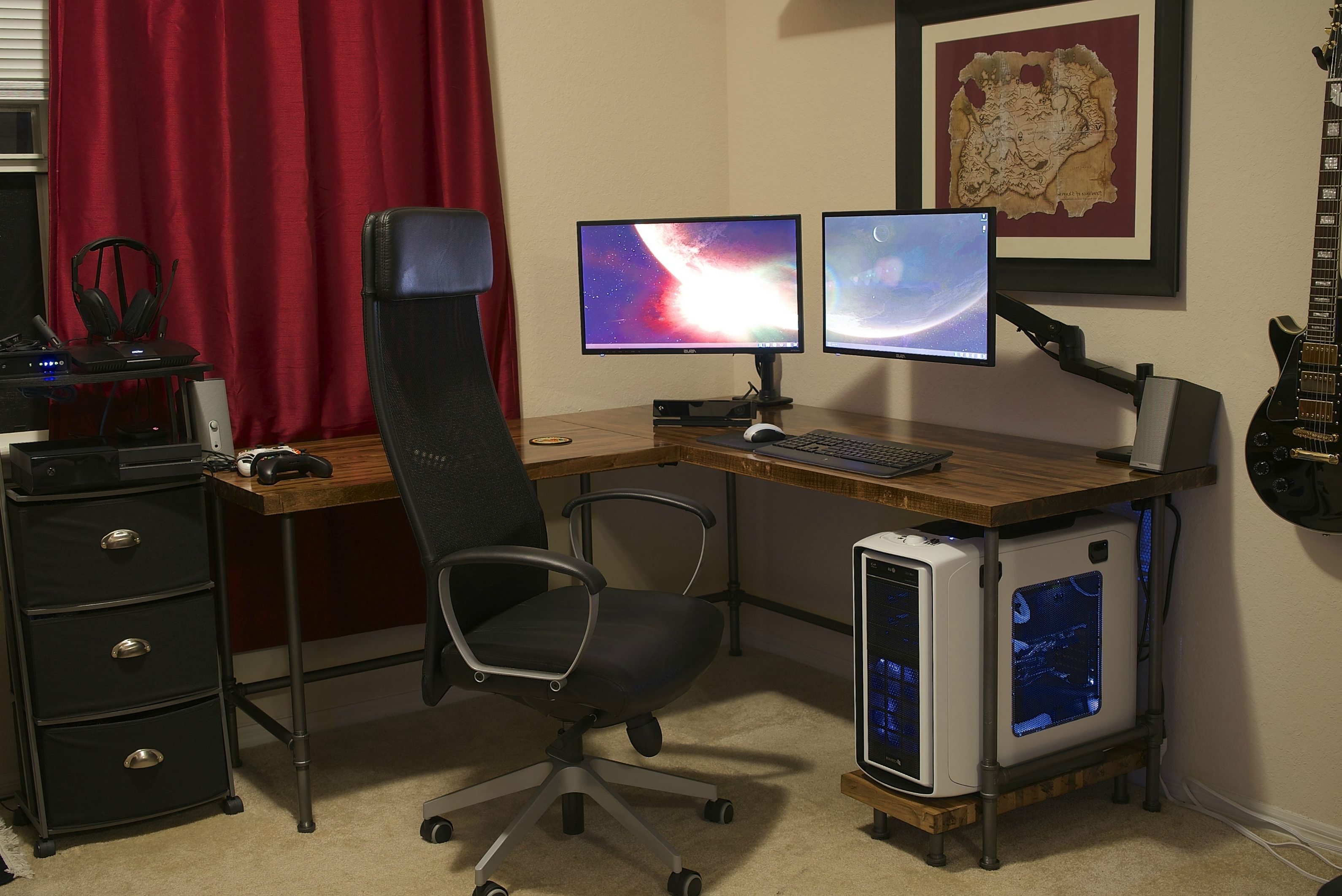 Custom Corner Butcher Block Computer Desk With Black Pipe Legs And Within Well Known Custom Computer Desks (View 10 of 20)