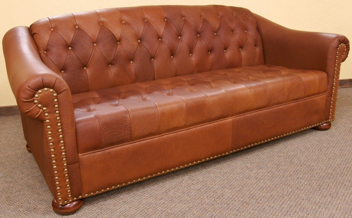 Custom Made Camel Tufted Leather Sofadakota Bison Furniture Intended For Current Camel Sectional Sofas (View 8 of 20)