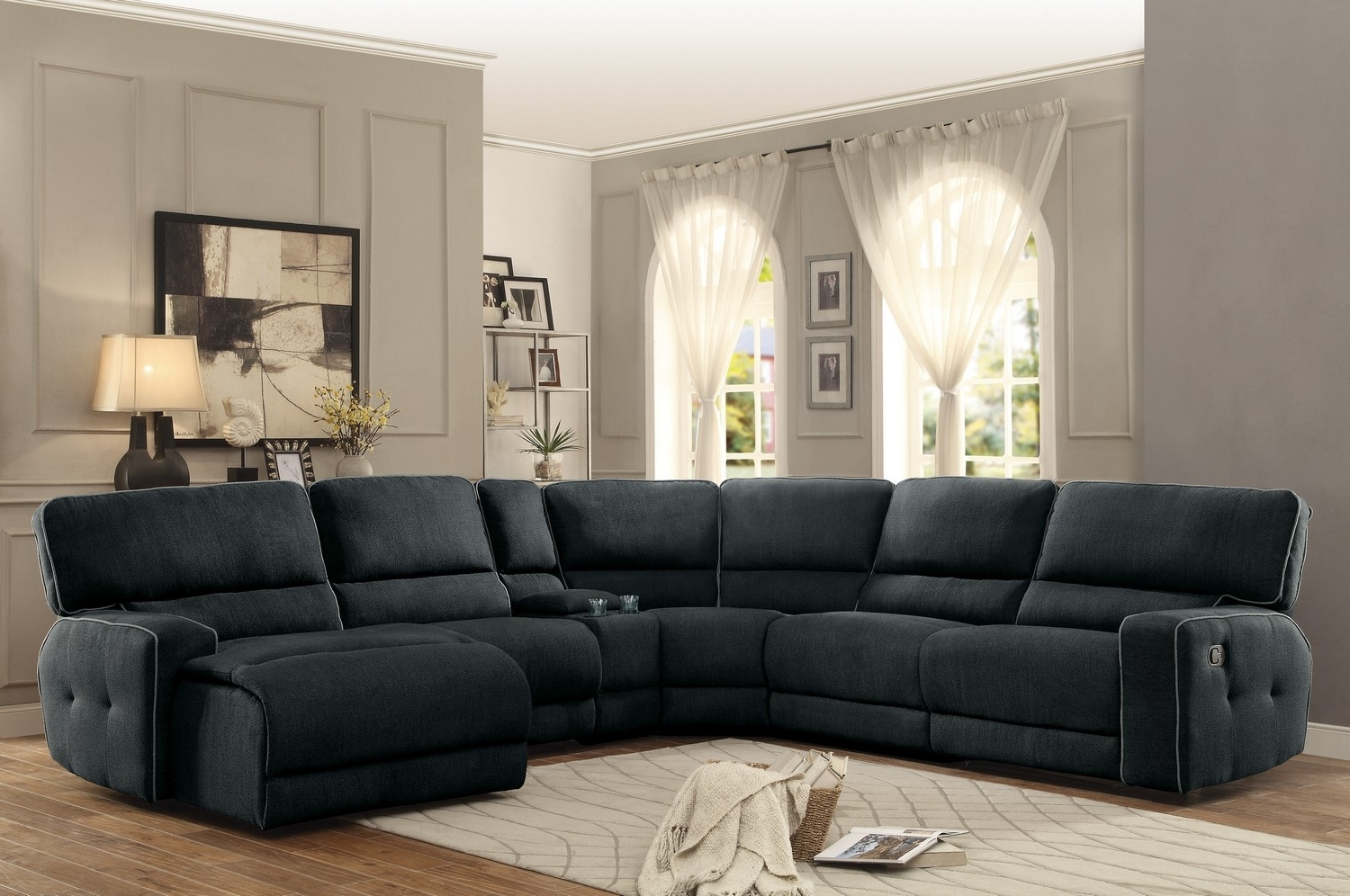 Dallas Sectional Sofas Regarding Popular Homelegance Keamey Reclining Sectional Sofa Set A – Polyester (View 8 of 20)