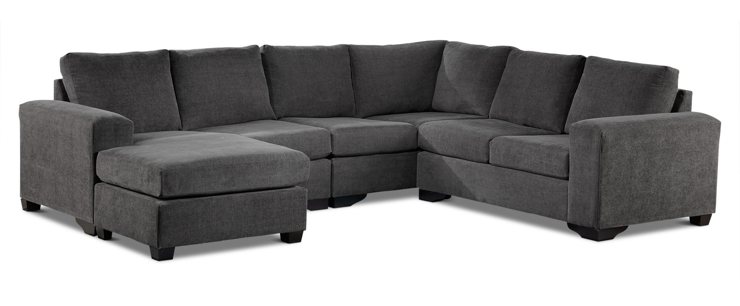 Danielle 3 Piece Sectional With Right Facing Corner Wedge – Grey Inside Widely Used Leons Sectional Sofas (Gallery 2 of 20)