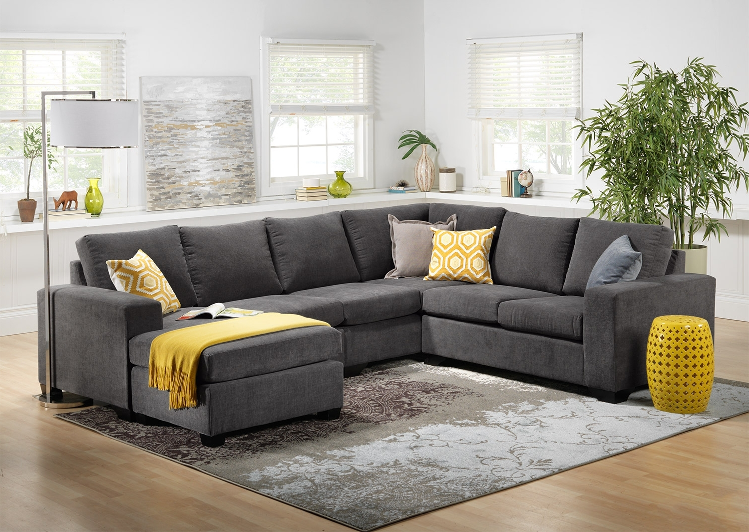 Danielle 3 Piece Sectional With Right Facing Corner Wedge – Grey Within Current Scarborough Sectional Sofas (View 5 of 20)
