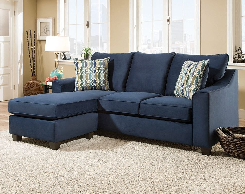 Dark Blue Sofa With Accent Pillows (Gallery 4 of 20)