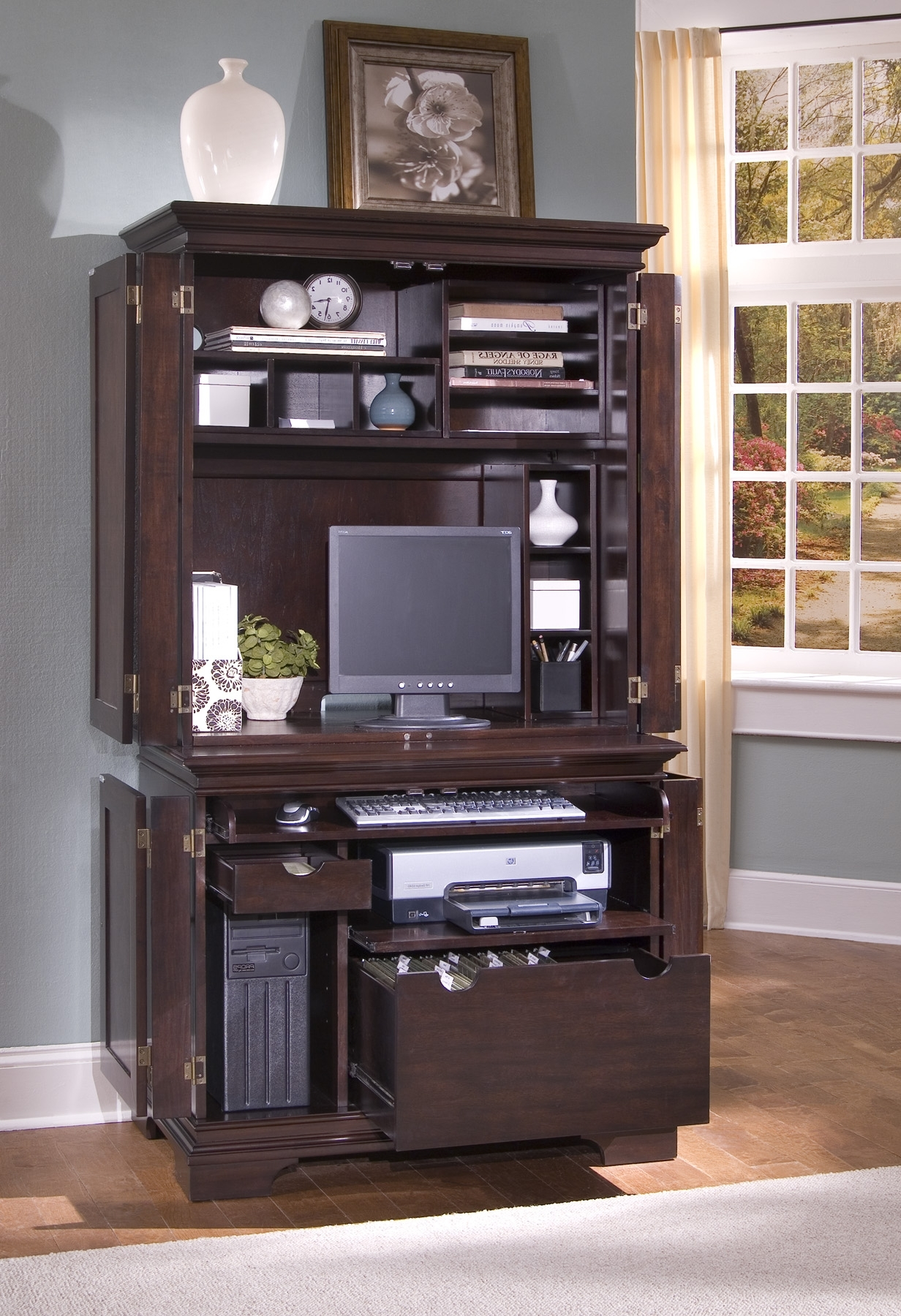 Dark Brown Wooden Computer Desk With Hutch And Doors Also File With Newest Computer Desks With Doors (View 4 of 20)