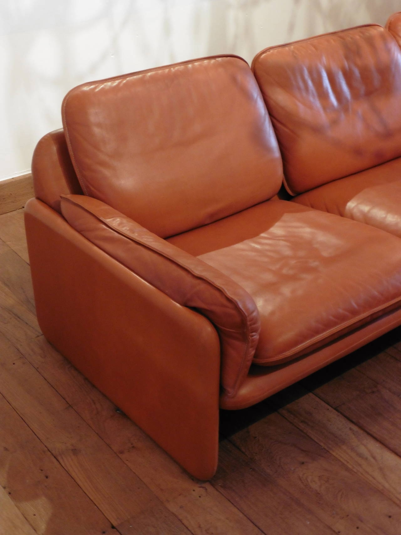 De Sede Three Seat Cognac Aniline Leather Sofa, Circa 1970 For Pertaining To Well Known Aniline Leather Sofas (View 11 of 20)