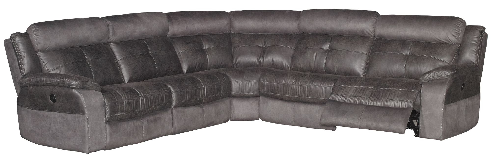 Denver Sectional Sofas In Well Known Gray Microfiber 6 Piece 3X Power Reclining Sectional – Denver (View 8 of 20)