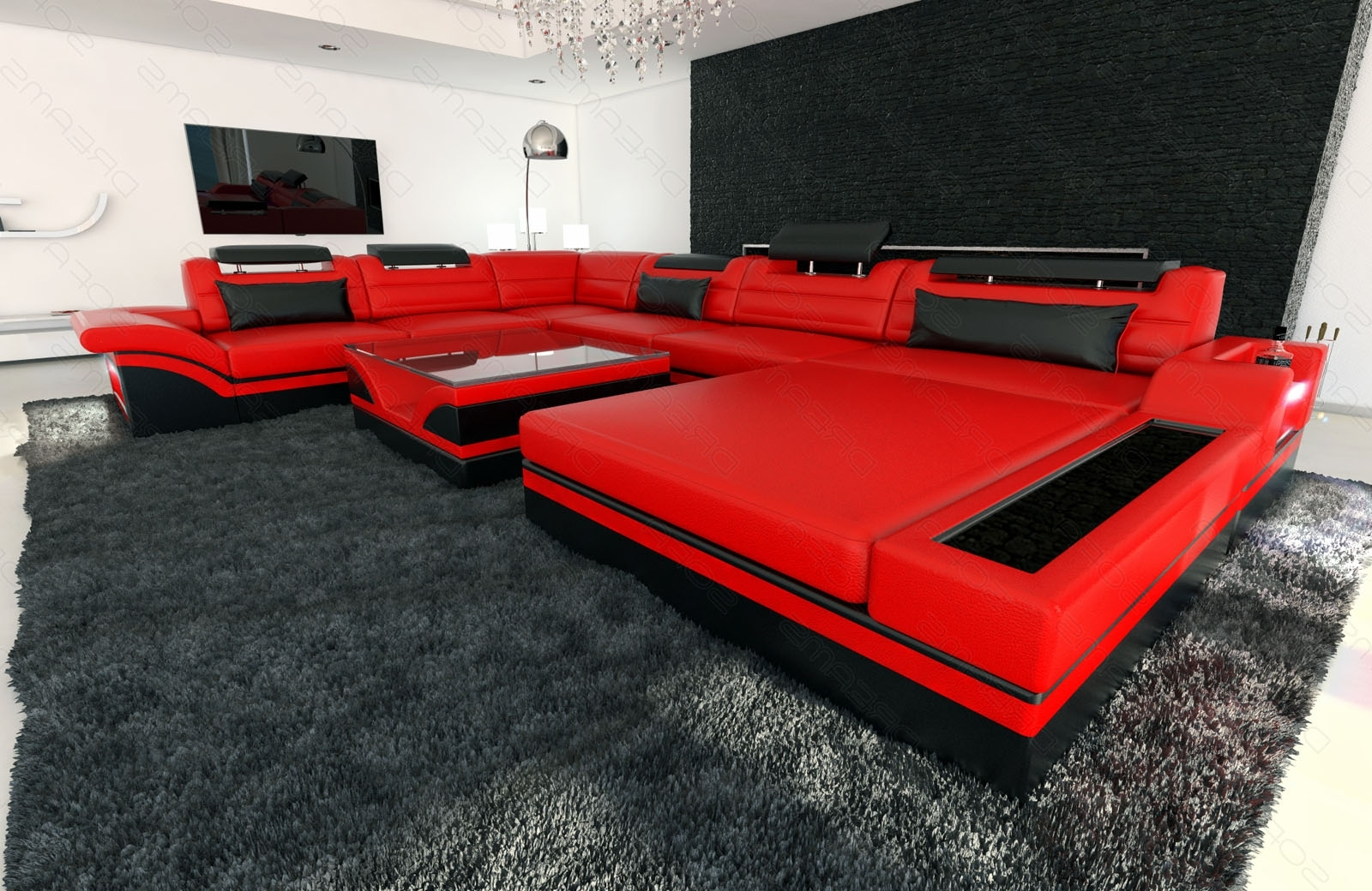 Design Sectional Sofa Mezzo Xxl With Led Lights Red Black (Gallery 3 of 20)