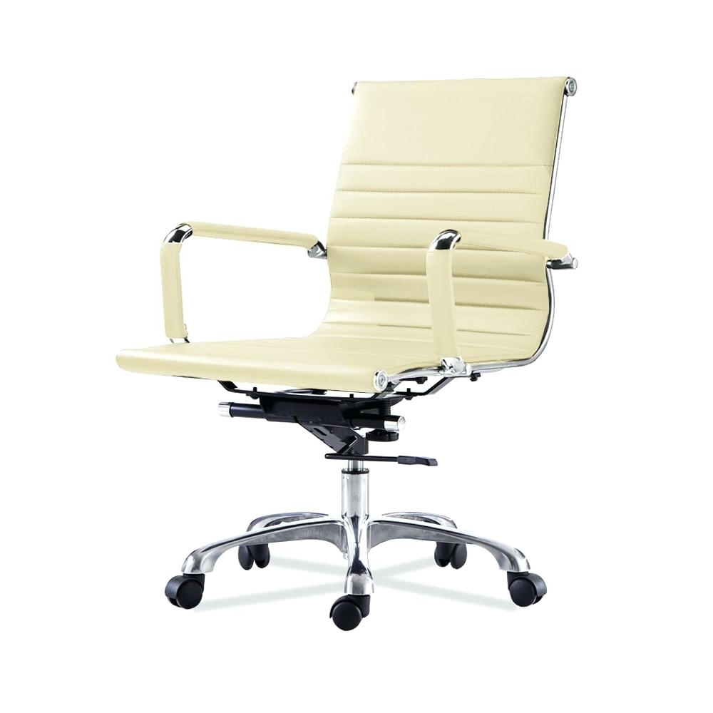 Desk Chair ~ Cream Leather Desk Chair White Office With Wheels Intended For Famous Verona Cream Executive Leather Office Chairs (View 20 of 20)
