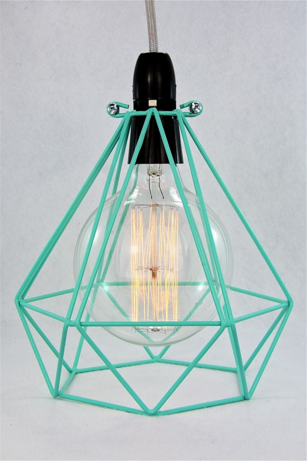 Diamond Wire Lamp Cage Pendant Cloth Cord Trouble Light Chandelier Within Well Liked Turquoise Gem Chandelier Lamps (View 13 of 20)