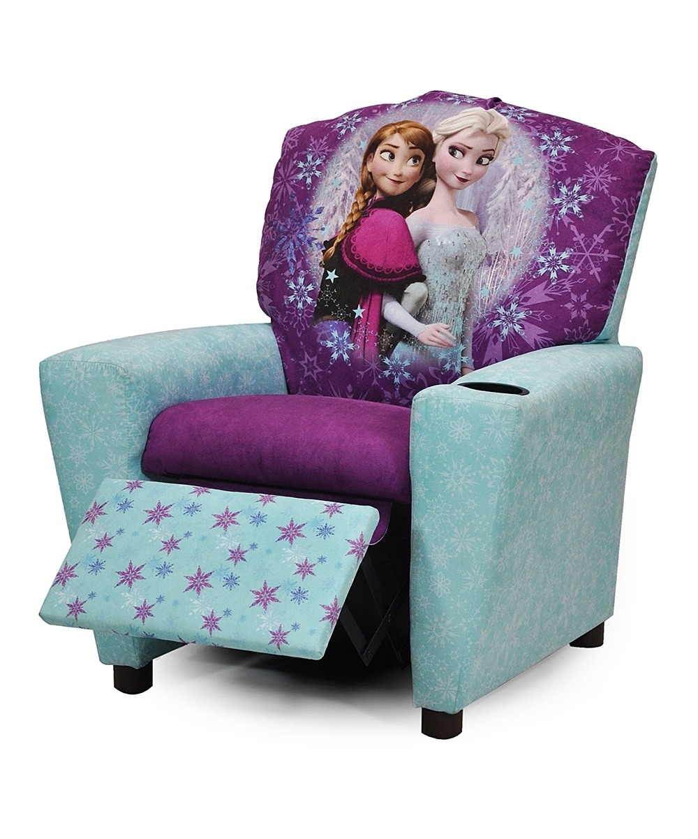 Disney Sofa Chairs Inside Most Up To Date Blue & Purple Frozen Recliner (View 4 of 20)