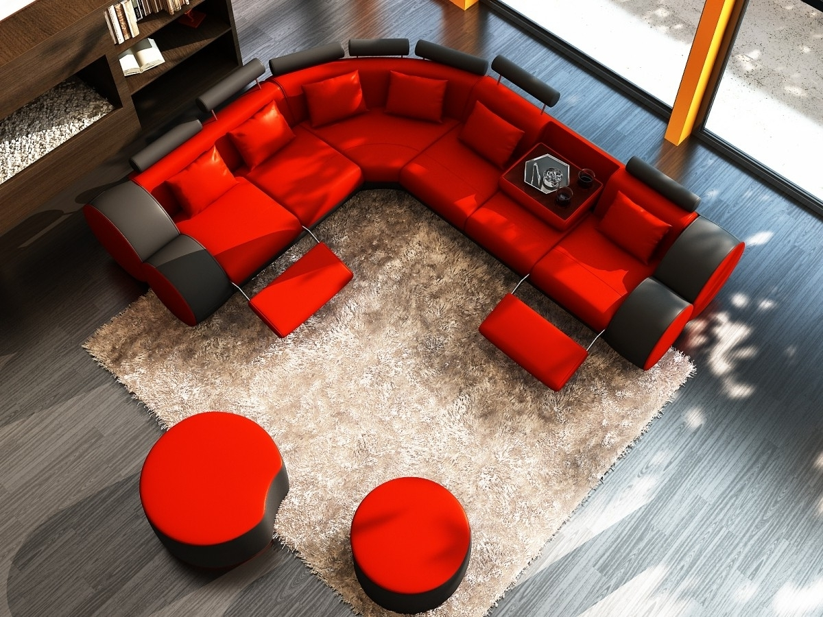 Divani Casa 3087 – Modern Black And Red Bonded Leather Sectional With Well Known Red Leather Sectional Sofas With Recliners (Gallery 9 of 20)