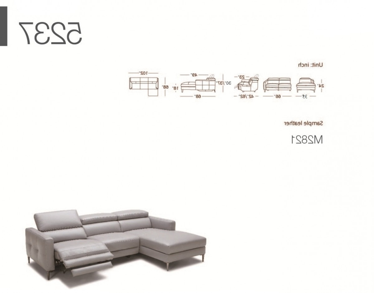 Divani Casa Booth Modern Light Grey Leather Sectional Sofa W For Well Liked Sectional Sofas With Electric Recliners (Gallery 9 of 20)