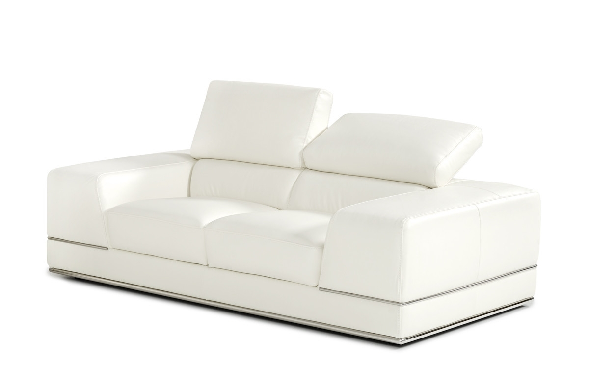 Divani Casa Chrysanthemum Modern White Leather Sofa Set Throughout Current White Leather Sofas (View 7 of 20)