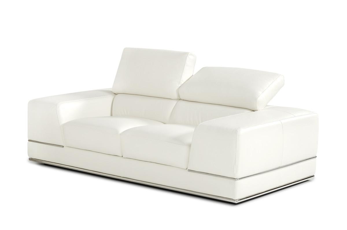 Divani Casa Chrysanthemum Modern White Leather Sofa Set Throughout Current White Leather Sofas (View 4 of 20)