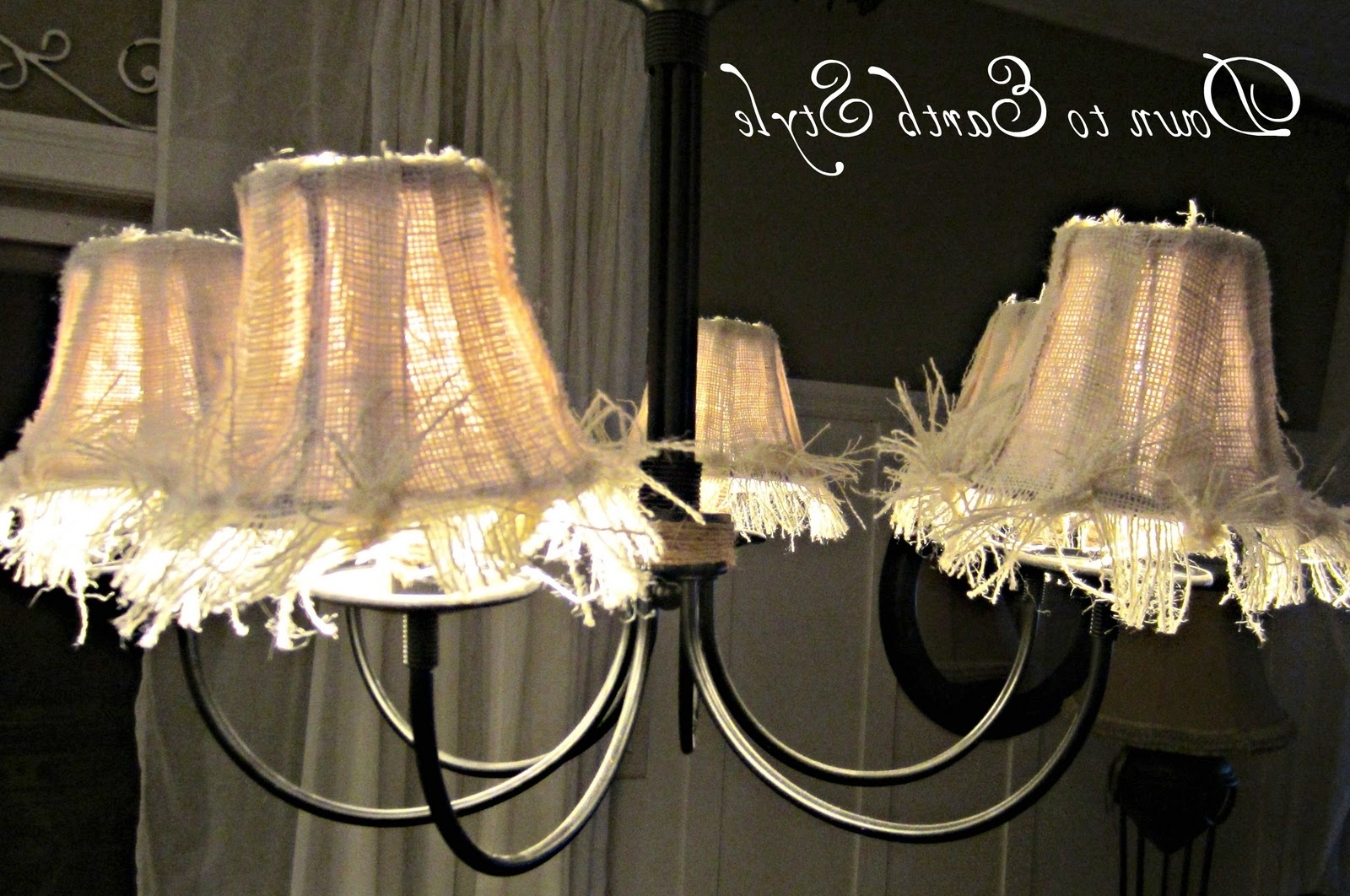 Down To Earth Style: Raggy Burlap Lamp Shades With Regard To 2018 Small Chandelier Lamp Shades (Gallery 11 of 20)