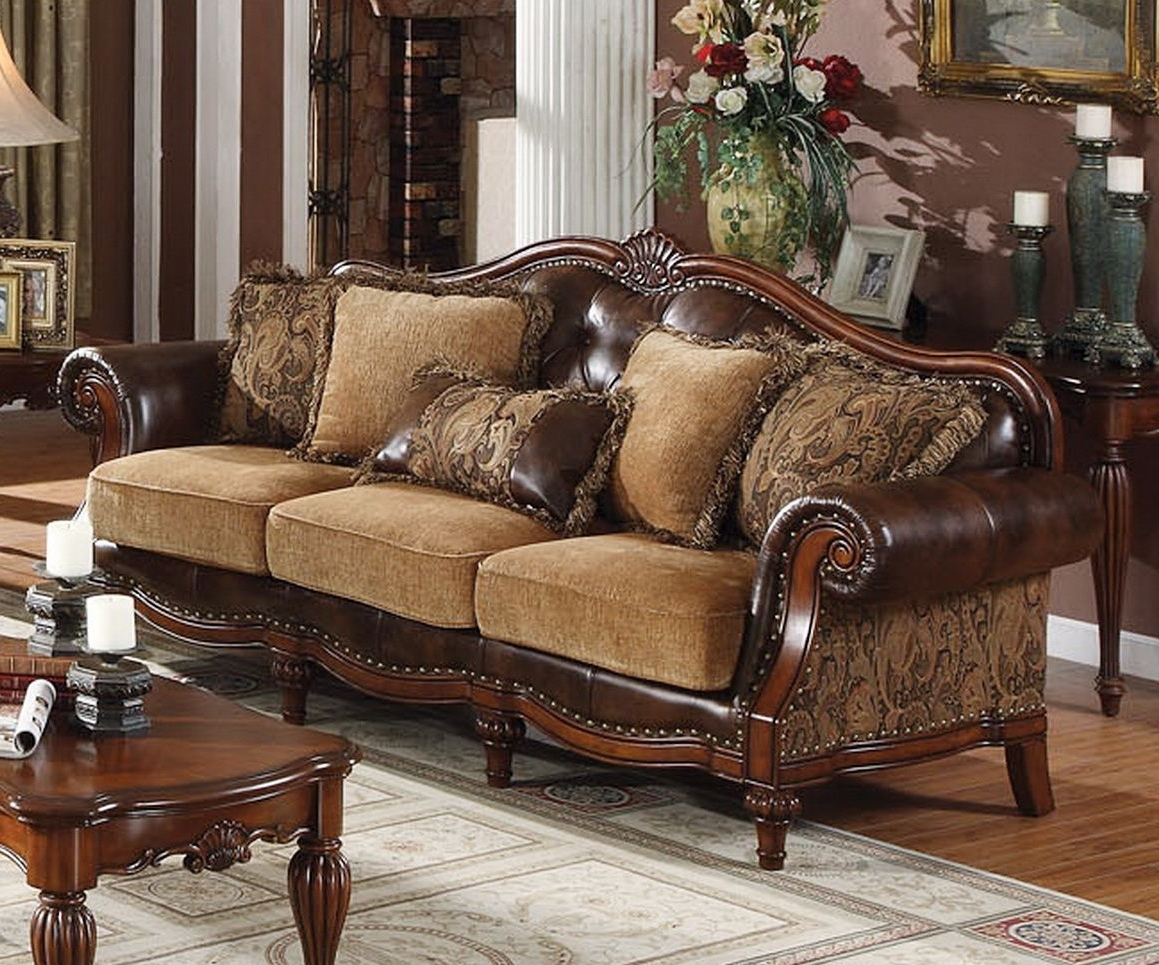 Dreena Traditional Bonded Leather And Chenille (Gallery 6 of 20)