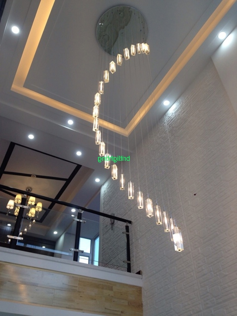 Drop Ceiling : Long Drop Ceiling Lights Long Chandeliers Staircase Regarding Most Current Staircase Chandeliers (View 5 of 20)