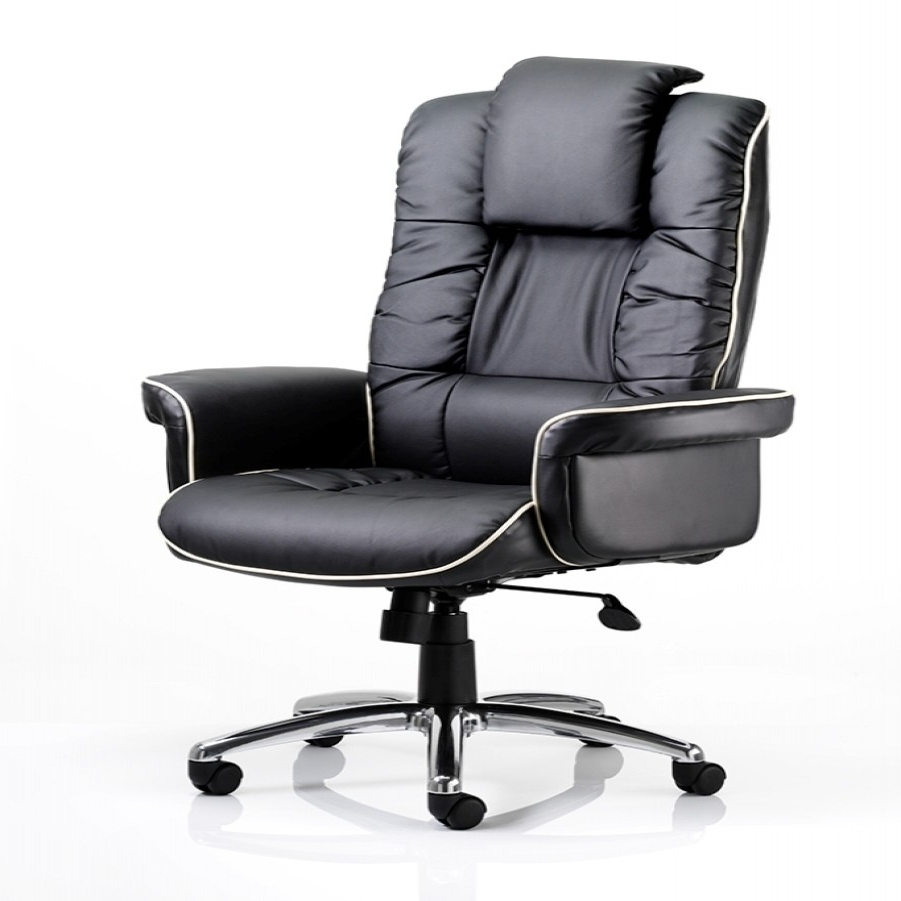 Dynamic Chelsea Leather Faced Executive Chair In Black (View 9 of 20)